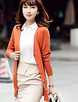 Women's Casual/Daily Long Cardigan,Solid V Neck Long Sleeve Cotton Spring Medium Micro-elastic