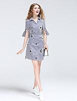 Для женщин На выход На каждый день Секси Очаровательный Уличный стиль А-силуэт Рубашка Платье Полоски,V-образный вырез МиниС короткими