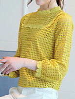 Women's Going out Casual/Daily Simple Boho Summer Fall Blouse,Solid Round Neck Long Sleeve Cotton Opaque