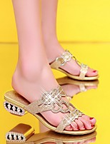 Women's Sandals Summer Gladiator PU Casual Chunky Heel Blue Gold