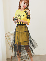 Women's Going out Casual/Daily Cute Street chic T-shirt Skirt Suits,Solid Round Neck