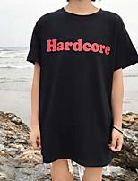 Damen Buchstabe Einfach Ausgehen T-shirt,Rundhalsausschnitt Kurzarm Baumwolle