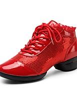 Sapatos de Dança(Dourado Preto Vermelho) -Feminino-Não Personalizável-Moderna