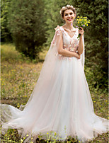 A-line Wedding Dress - Chic & Modern Wedding Dress in Color Sweep / Brush Train V-neck Lace Tulle with Appliques Flower