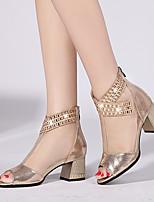 Damen-Sandalen-Lässig-Leder-Blockabsatz-Komfort-Gold Schwarz