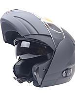 O capacete favorito da motocicleta do cavaleiro com sistema do visor dobro do dispositivo do bluetooth levanta o capacete do capacete do