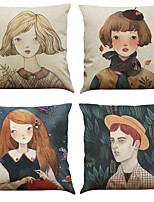 Set of 4 Fresh Girl Pattern  Linen Pillowcase Sofa Home Decor Cushion Cover