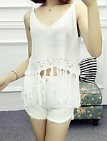 Women's Casual/Daily Short Pullover,Solid V Neck Sleeveless Rayon Summer Thin Micro-elastic