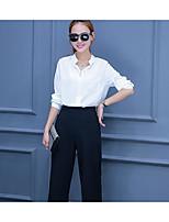 Women's Work Simple Summer Shirt Pant Suits,Solid Shirt Collar Long Sleeve Cotton