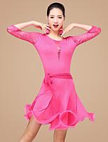 Latin Dance Outfits Women's Performance Polyester Lace Milk Fiber Ruffles Decorative Belt 2 Pieces 3/4 Length Sleeve Dance Costume High Top / Skirt