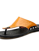 Men's Slippers & Flip-Flops Summer Fall Comfort Leather Cowhide Outdoor Casual Athletic Flat Heel Black Yellow