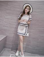 Women's Work Simple Summer T-shirt Dress Suits,Solid Shirt Collar Short Sleeve Cotton
