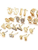 12Pcs/set Stud Earrings Unique Design Geometric Alloy Jewelry For Party Daily Casual 1 Set