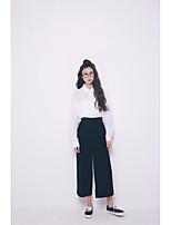 Feminino Camisa Social Para Noite SimplesSólido Algodão Colarinho de Camisa Manga Longa
