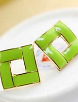 Han Edition Adorable  Sweet Candy Color Drip Square Studs Joker Earrings