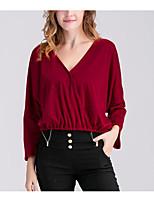 Tee-shirt Femme,Couleur Pleine Sortie Décontracté / Quotidien Vacances Vintage simple Printemps Eté Manches Longues Col en V Coton Fin