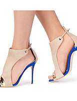 2017 Women's Blue and Beige Peep toe High Heel Sandals Ladies Spring Summer Slingback Shoes Two-piece Covered Heel Stilettos