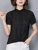 Women's Going out Casual/Daily Simple Street chic Summer Fall Blouse,Solid Shirt Collar Short Sleeve Silk Opaque