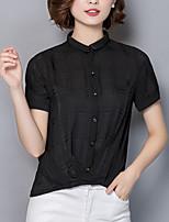Для женщин На выход На каждый день Лето Осень Блуза Рубашечный воротник,Простое Уличный стиль Однотонный С короткими рукавами,Шёлк,Плотная