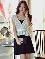 DABUWAWA Women's Going out Casual/Daily Work Simple Street chic Sophisticated Sheath Chiffon Black and White DressColor Block Patchwork Strapless