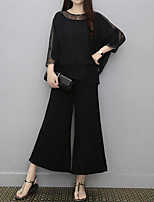 Women's Casual/Daily Simple T-shirt Pant Suits,Solid Round Neck Mesh Inelastic