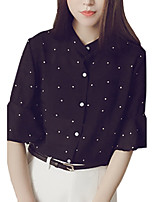 Women's Going out Work Simple Sophisticated All Seasons Blouse,Solid Polka Dot Stand ½ Length Sleeve Rayon