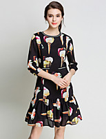 SUOQI Women Fashion Round Neck  Sleeve A Line Dress Spring Summer Casual Going out Print Dresses