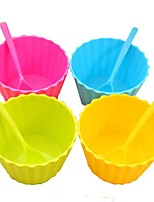 1Pcs  Candy Color Plastic Ice Cream Cup And Spoon Lacework Ice Cream Tub Bowl Mini Kitchen Gadgets
