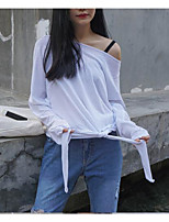 Women's Going out Simple Spring Summer T-shirt,Solid Boat Neck Long Sleeve Rayon Thin