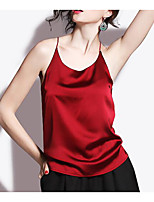 Women's Party Club Holiday Sexy Vintage Summer Tank Top,Solid Strap Sleeveless Polyester Thin