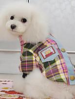 Chien Tee-shirt Vêtements pour Chien Printemps/Automne Tartan Mignon Mode Décontracté / Quotidien Jaune Rose Vert clair