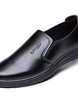 Черный Коричневый-Для мужчин-Повседневный-Кожа-На плоской подошве-Удобная обувь-Мокасины и Свитер