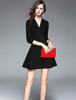 Women's Going out Casual/Daily Sheath Dress,Solid V Neck Mini ¾ Sleeve Polyester Spring Summer Mid Rise Stretchy Medium