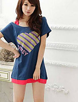 Women's Going out Casual/Daily Simple T-shirt,Print Round Neck Short Sleeve Acrylic