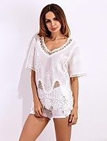 Women's Going out Beach Sexy Cute Spring Summer Shirt,Solid V Neck ½ Length Sleeve Spandex Sheer