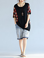 Women's Casual/Daily Simple T-shirt,Print Round Neck ½ Length Sleeve Polyester