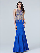 TS Couture Formal Evening Dress - See Through Trumpet / Mermaid Jewel Floor-length Taffeta with Appliques Crystal Detailing
