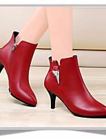 Feminino-Saltos-Sapatos clubePreto Vermelho-Couro Ecológico-Casual