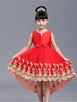 Ball Gown Asymmetrical Flower Girl Dress - Organza Jewel with Bow(s) Embroidery Pleats