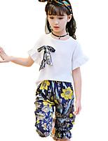 Мальчики Наборы На каждый день Хлопок Однотонный Цветочный принт Лето Все сезоны Весна С короткими рукавами Набор одежды
