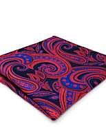 CH12 Mens Classic Pocket Square Hanky Blue Red Paisley 100% Silk Dress Casual Fashion Unique