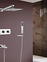 Contemporary Wall Mounted Handshower Included with  Ceramic Valve Two Handles Four Holes for  Chrome , Shower Faucet