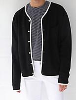 Sweatshirt Homme Décontracté / Quotidien Couleur Pleine Col Rond Claudine Micro-élastique Coton Manches longues Printemps