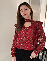 Women's Casual/Daily Holiday Boho Cute Blouse,Floral V Neck Long Sleeve Cotton