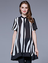 Women's Going out Casual/Daily Street chic Summer T-shirt,Striped Stand Short Sleeve Polyester Thin
