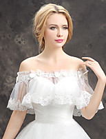 Women's Wedding Wrap Capelets Lace Tulle Wedding Party/Evening Crystal Draped Lace Bowknot Grace Bride Shawl White Off-the-shoulder