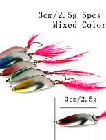 5pcs 3cm/2.5g Spinner Baits Multicolored Spoon Metal Fishing Lures with Feather