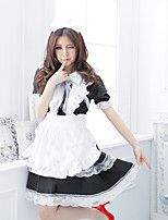 Skirt Outfits Maid Suits Sweet Lolita Lolita Cosplay Lolita Dress White Solid Short Sleeve Knee-length Dress Apron Bow For Uniform Cloth