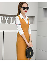 Women's Casual/Daily Simple Spring Shirt Dress Suits,Solid Shirt Collar Long Sleeve Cotton