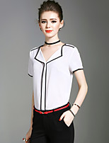 XSSLWomen's Going out Casual/Daily Beach Vintage Simple Street chic Summer BlouseSolid V Neck Short Sleeve Polyester Medium